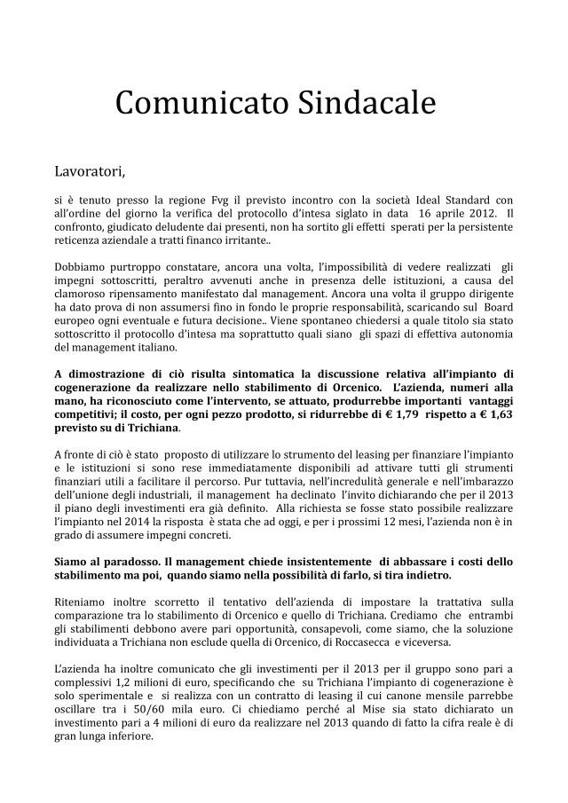 comunicato ideal standard 06-12-12-001