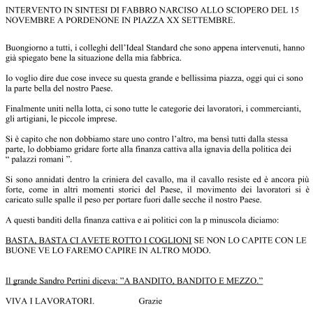 intervento di fabbro narciso allo sciopero del 15 novembre a pordenone in piazza xx settembre-001