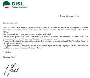 lettera Serracchiani_solidarietà