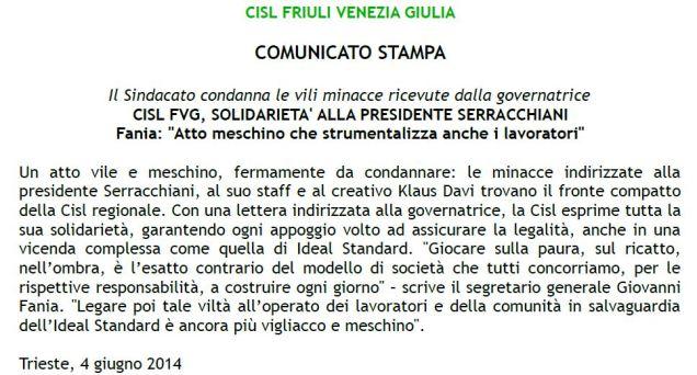 solidarietà pres Serracchiani