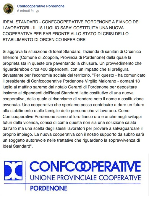 comunicatoCONFCOOPERATIVE17-07-2014
